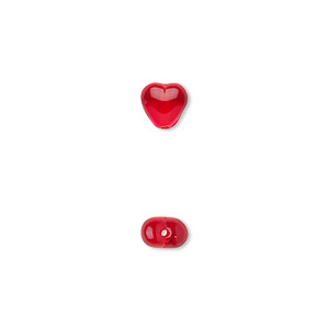 bead, czech pressed glass, light red, 6.5x6mm heart. sold per 16-inch strand, approximately 65 beads.