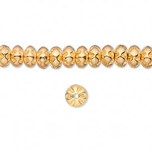 bead, czech pressed glass, metallic gold, 6x4mm round rondelle. sold per 16-inch strand, approximately 100 beads.