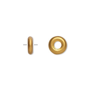bead, czech pressed glass, opaque satin dark gold, 9.5x3mm ring with 3.5mm hole. sold per pkg of 50.