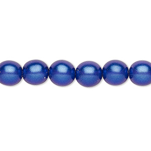 bead, czech pressed glass, pearlized dark blue, 8mm round. sold per 16-inch strand, approximately 50 beads.