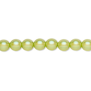 bead, czech pressed glass, pearlized olive green, 6mm round. sold per 16-inch strand, approximately 65 beads.