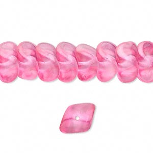 bead, czech pressed glass, pearlized pink, 12x8mm twisted rondelle. sold per 16-inch strand, approximately 70 beads.