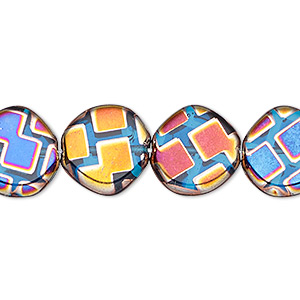 bead, czech pressed glass, semitransparent metallic rainbow blue, 15mm non-uniform flat round with geometric pattern. sold per 16-inch strand.