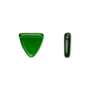 bead, czech pressed glass, transparent emerald green, 13x13x12mm top-drilled flat triangle. sold per 16-inch strand, approximately 30 beads.