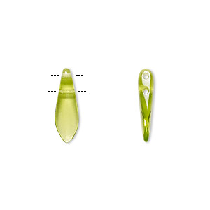 bead, czech pressed glass, transparent olivine, 16x5mm top-drilled dagger with 2 holes. sold per pkg of 20.
