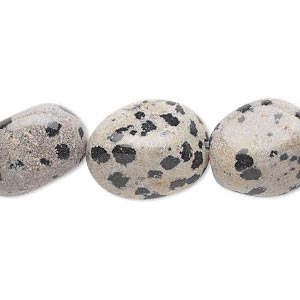 bead, dalmatian jasper (natural), large tumbled nugget, mohs hardness 6-1/2 to 7. sold per 16-inch strand.
