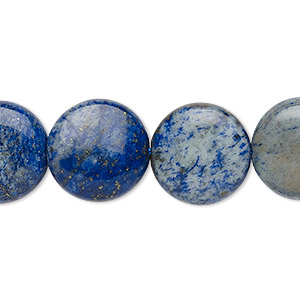 bead, denim lapis (dyed), 16mm puffed flat round, c+ grade, mohs hardness 5 to 6. sold per 15-inch strand.