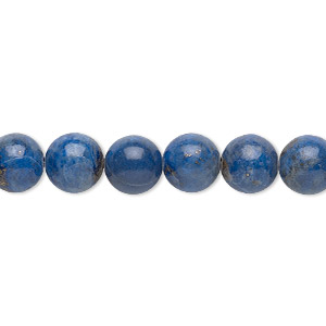 bead, denim lapis (natural), 8mm round, c grade, mohs hardness 5 to 6. sold per 16-inch strand.