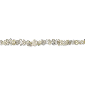 bead, diamond (natural), light lime green, mini hand-cut chip, mohs hardness 10. sold per 8-inch strand.