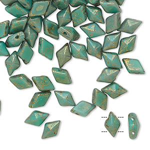 bead, diamonduo™, czech pressed glass, opaque luminous pecan green turquoise, faceted diamond with flat back and (2) 0.7-0.8mm holes. sold per 10-gram pkg, approximately 70 beads.