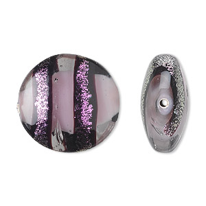 bead, dichroic glass, black/purple/clear, 21x11mm puffed flat round. sold per pkg of 2.