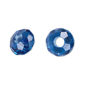 bead, dione and celestial crystal, 32-facet, medium blue, 14x8mm faceted rondelle with 5mm hole. sold per pkg of 12.