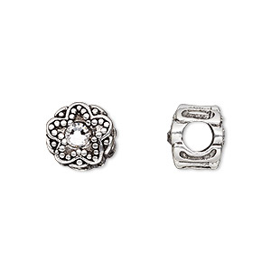 bead, dione, antique silver-plated pewter (tin-based alloy) and swarovski crystal rhinestone, white spinel, 11mm double-sided round with star design, 5mm hole. sold individually.