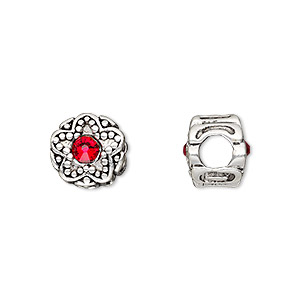 bead, dione, antique silver-plated pewter (tin-based alloy) and swarovski crystal rhinestone, ruby red, 11mm double-sided round with star design, 5mm hole. sold individually.