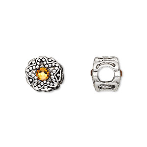 bead, dione, antique silver-plated pewter (tin-based alloy) and swarovski crystal rhinestone, golden topaz yellow, 11mm double-sided round with star design, 5mm hole. sold individually.