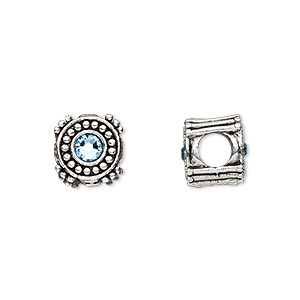 bead, dione, antique silver-plated pewter (tin-based alloy) and swarovski crystal rhinestone, aquamarine blue, 10mm double-sided round, 5mm hole. sold individually.