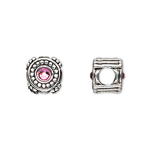 bead, dione, antique silver-plated pewter (tin-based alloy) and swarovski crystal rhinestone, rose, 10mm double-sided round, 5mm hole. sold individually.