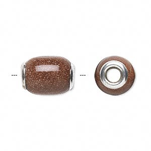 bead, dione, brown goldstone (manmade) and sterling silver grommets, 14x11mm-16x12mm oval with 4mm hole. sold individually.