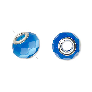 bead, dione, cats eye glass and silver-plated brass grommets, blue, 13x10mm-14x10mm faceted rondelle with 4.5-5mm hole. sold per pkg of 4.