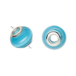 bead, dione, cats eye glass and silver-plated brass grommets, turquoise blue, 13x10mm-14x10mm rondelle with 4.5-5mm hole. sold per pkg of 6.
