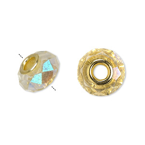 bead, dione, celestial crystal and gold-finished brass, 32-facet, clear ab, 13x9mm-14x10mm faceted rondelle with 4.5mm hole. sold per pkg of 10.