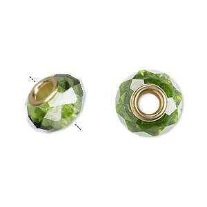bead, dione, celestial crystal and gold-finished brass, 32-facet, green, 13x9mm-14x10mm faceted rondelle with 4.5mm hole. sold per pkg of 10.
