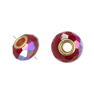 bead, dione, celestial crystal and gold-finished brass, 32-facet, red ab, 13x9mm-14x10mm faceted rondelle with 4.5mm hole. sold per pkg of 10.