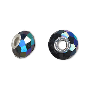 bead, dione, celestial crystal and silver-plated brass, 32-facet, black ab, 13x9mm-14x10mm faceted rondelle with 4.5mm hole. sold per pkg of 10.