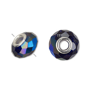bead, dione, celestial crystal and silver-plated brass, 32-facet, cobalt ab, 13x9mm-14x10mm faceted rondelle with 4.5mm hole. sold per pkg of 10.