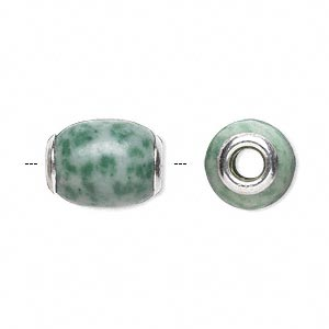 bead, dione, ching hai jade (natural) and sterling silver grommets, 14x11mm-16x12mm oval with 4mm hole, b grade, mohs hardness 3-1/2 to 4. sold individually.