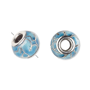 bead, dione, cloisonne, enamel and silver-plated brass grommets, aqua, 14x10mm rondelle with flower design and 5mm hole. sold per pkg of 4.