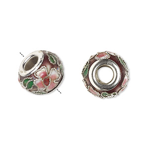 bead, dione, cloisonne, enamel and silver-plated brass grommets, purple / pink / green, 14x10mm rondelle with flower and leaves design, 5mm hole. sold per pkg of 4.