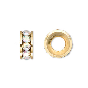 bead, dione, czech crystal and gold-finished brass, crystal ab, 14x6mm rondelle with 7mm hole. sold per pkg of 2.