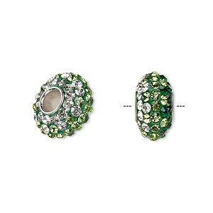 bead, dione, czech glass rhinestone / epoxy / imitation rhodium-plated brass grommet, green / light green / clear, 13x8mm-14x8mm rondelle with shaded design, 4.5mm hole. sold individually.