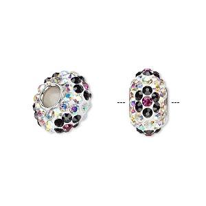 bead, dione, czech glass rhinestone / epoxy / imitation rhodium-plated brass grommet, multicolored, 13x8mm-14x8mm rondelle with flower, 4.5mm hole. sold individually.