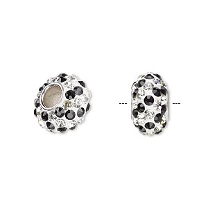 bead, dione, czech glass rhinestone / epoxy / imitation rhodium-plated brass grommet, white / black / clear, 13x8mm-14x8mm rondelle with spiral design, 4.5mm hole. sold individually.