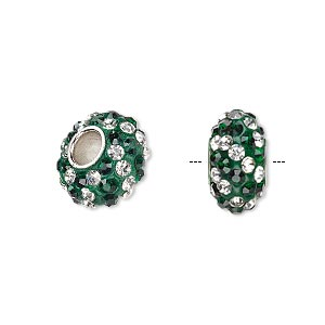 bead, dione, czech glass rhinestone / epoxy / imitation rhodium-plated brass grommet, green and clear, 13x8mm-14x8mm rondelle with spiral design, 4.5mm hole. sold individually.