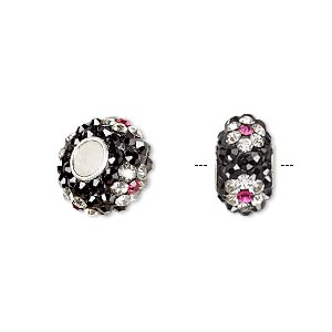 bead, dione, czech glass rhinestone / epoxy / sterling silver grommets, black / clear / pink, 14x8mm rondelle with flower design, 4.5mm hole. sold individually.