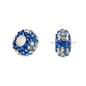 bead, dione, czech glass rhinestone / epoxy / sterling silver grommets, blue / clear / light yellow, 14x8mm rondelle with flower design, 4.5mm hole. sold individually.