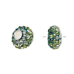 bead, dione, czech glass rhinestone / epoxy / sterling silver grommets, green / light green / clear, 14x8mm rondelle with shaded design, 4.5mm hole. sold individually.