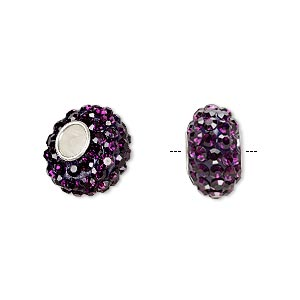 bead, dione, czech glass rhinestone / epoxy / sterling silver grommets, purple, 14x8mm rondelle, 4.5mm hole. sold individually.