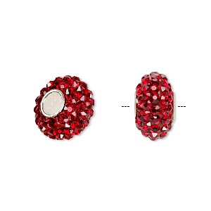 bead, dione, czech glass rhinestone / epoxy / sterling silver grommets, red, 14x8mm rondelle, 4.5mm hole. sold individually.