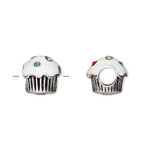 bead, dione, enamel / glass rhinestone / antique silver-plated pewter (tin-based alloy), white and multicolored, 11x11mm cupcake with 5mm hole. sold individually.