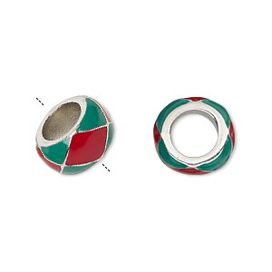 bead, dione, enamel and imitation rhodium-finished pewter (zinc-based alloy), opaque red and green, 13x7mm rondelle with 7mm hole. sold individually.