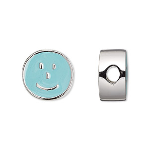 bead, dione, enamel and silver-finished pewter (zinc-based alloy), aqua blue, 16mm double-sided flat round with smiley emoticon face and 4mm hole. sold individually.