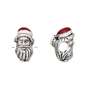 bead, dione, enamel and silver-plated pewter (tin-based alloy), white and red, 17x10mm double-sided santa head, 5mm hole. sold individually.