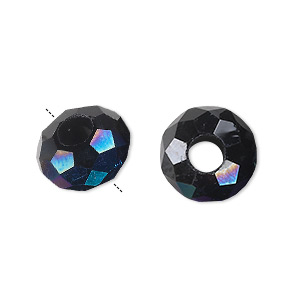 bead, dione, glass, 32-facet, black ab, 14x8mm faceted rondelle with 5mm hole. sold per pkg of 12.