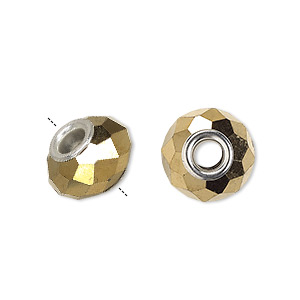 bead, dione, glass and silver-plated brass grommets, 32-facet, opaque metallic bright gold, 14x9mm faceted rondelle with 4-4.5mm hole. sold per pkg of 6.