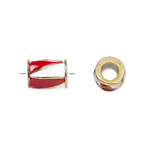 bead, dione, gold-finished pewter (zinc-based alloy) and enamel, opaque red and white, 12x9mm barrel with triangle design, 5mm hole. sold individually.