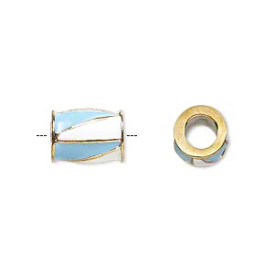 bead, dione, gold-finished pewter (zinc-based alloy) and enamel, opaque turquoise blue and white, 12x9mm barrel with triangle design, 5mm hole. sold individually.